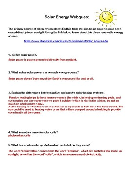 Solar Energy-  WebQuest:-CCSS .RI.4.1-8.1-.RI.4.2-8.2
