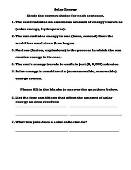 Solar Energy Worksheet
