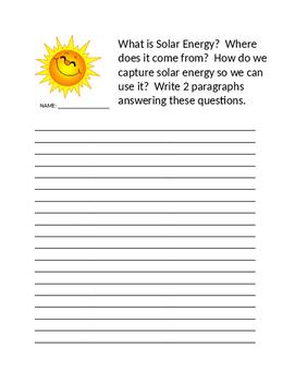 Solar Energy Writing Prompt