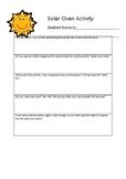 Solar Oven observation recording sheet