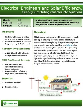 Solar Panel Efficiency STEM Lesson, Electrical Engineering Career Exploration