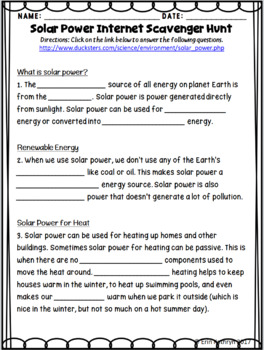 Solar Power Internet Scavenger Hunt WebQuest Activity