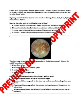 6th-8th Grade Solar System Middle School NGSS Assessment