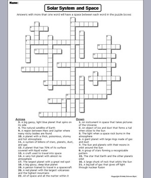 The Solar System Worksheet/ Crossword Puzzle (Space Science/ Astronomy Unit)