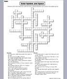 Solar System and Planets Worksheet/ Crossword Puzzle (Astronomy Unit)