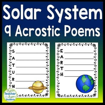 Solar System Writing Activity (Acrostic Poems) & Word Search!