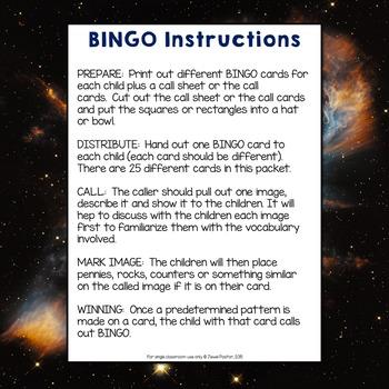 Solar System Activities (Solar System Science Bingo)