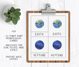 Solar System | Planets |Three Part Cards | Montessori Cards