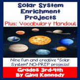 Solar System Enrichment Projects Menu, Nine No-Prep Fun Projects