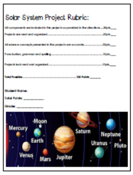 Solar System Enrichment Projects Menu, Nine No-Prep Fun Projects