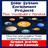 Solar System Projects Menu, Nine No-Prep Fun Projects