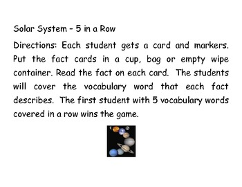 Solar System 5 in a Row Review Activity