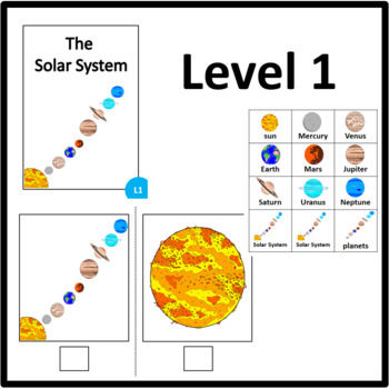 Solar System ADAPTED BOOK Level 1, level 2 and level 3 with matching activity