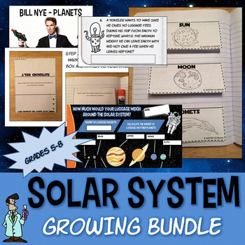 Solar System Astronomy growing bundle Junior High Science TX TEKS