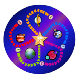 Solar System Board Game, cards and spinner