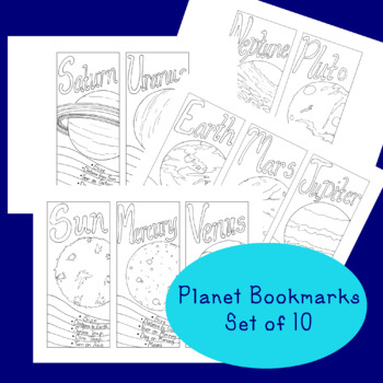 Solar System Bookmarks PDF Printable Coloring Page