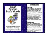 Solar System Buzz Word Game