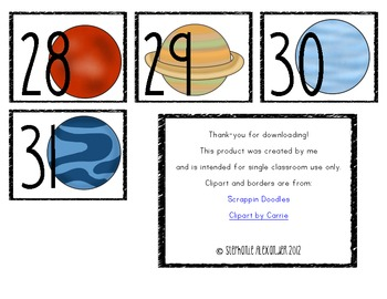 Solar System Calendar Numbers