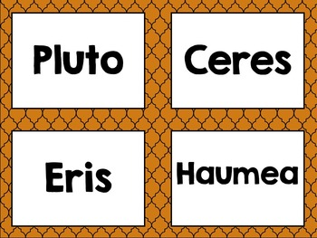 Solar System Card Sort Featuring Terrestrial, Jovian, Dwarf planets and NPOs