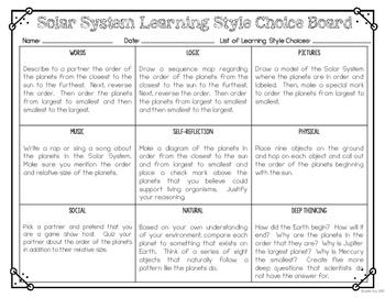 Solar System Choice Board FREEBIE