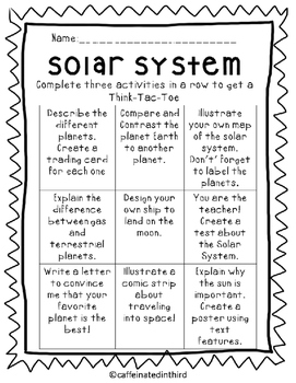 Solar System Choice Board Think Tac Toe