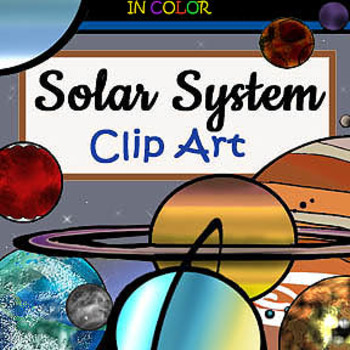 Solar System Clip-Art Planet Pack (B&W and Color!) 29 Pieces