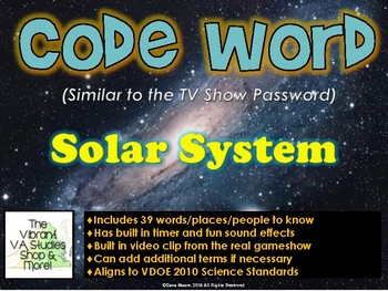 Solar System Codeword Game (Similar to Password)