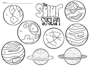Solar System: Planets Color-By-Number