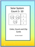 Solar System Coloring Count Task Cards 1-10s Special Education Math Kindergarten