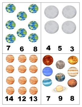 Solar System: Count and Clip Cards