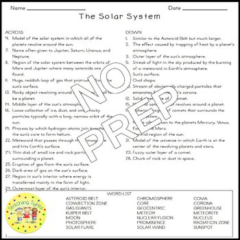 Solar System Earth Science Crossword Coloring Puzzle Worksheet Middle School