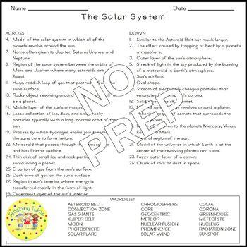 Solar System Crossword Puzzle
