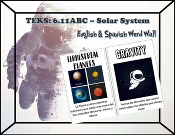 Solar System English/Spanish Word Wall