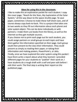 Solar System Exploration Packet. Grades 3-6