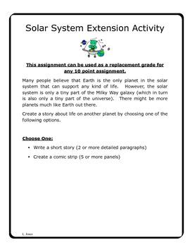Solar System Extension Activity