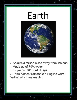 Solar System Fact Cards