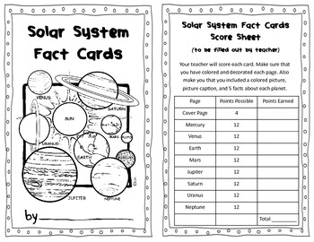 Solar System Fact Cards Informational Text Research Project Science 3.E.1.1