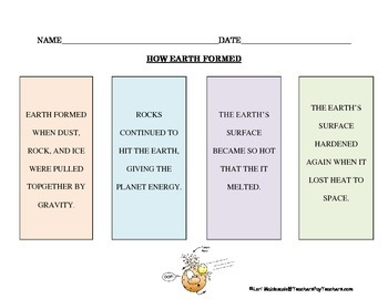 Solar System: Formation of the Earth Graphic Organizer