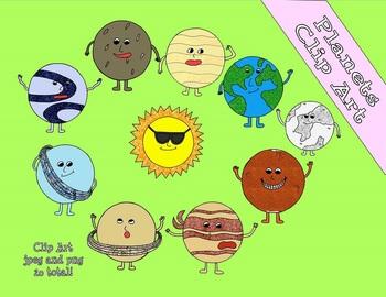 Solar System Glitter Clip Art