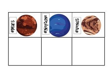 HASHTAG Solar System-Planet Facts Cut & Paste Foldable