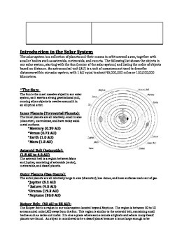 Solar System Hands-On Activity