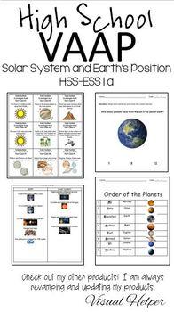 Solar System HSS-ESS 1 VAAP High School Visual Helper Autism Assessment