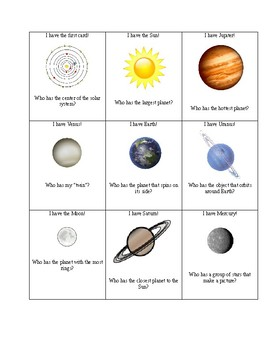 Solar System I Have Who Has?