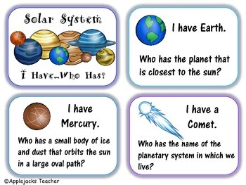 Solar System - I Have...Who Has? Game