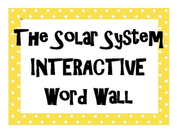 Solar System INTERACTIVE Word Wall