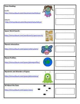 Solar System Interactive Website Task Sheet