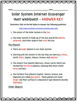 Solar System Internet Scavenger Hunt WebQuest Activity