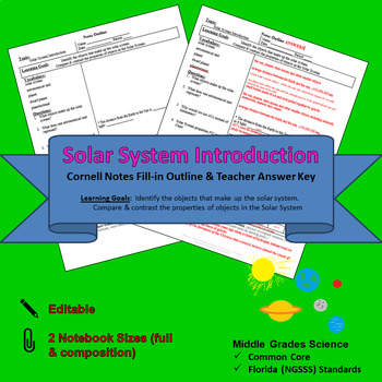 Solar System Introduction Cornell Notes #16