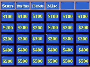 Solar System Jeopardy Game
