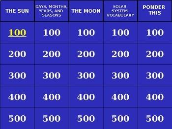 Solar System Jeopardy Review